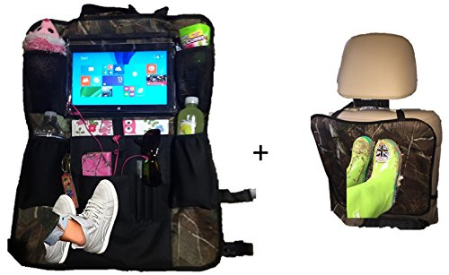 Kick Mats and Premium Car Back of Seat Organizer with iPad / Tablet Holder Touch Screen Pocket- Kids Toy Storage Bags, Auto Seat Back Protector- for Baby Stroller &Travel Accessories - Brands All Coupon Sunglasses