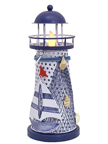 Nautical Gifts - Nautical Lighthouse Decor - Blue and White Lighthouse with a LED Flameless Tealight - Beach Decorations