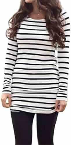 Myobe Women's Casual Rayon Striped O Neck Long Sleeve Bottom T-Shirt Blouse Tops White Black