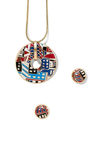 enamel-pendant-necklace-and-earring-set-snake-chain-open-circle-charm-round-studs-1