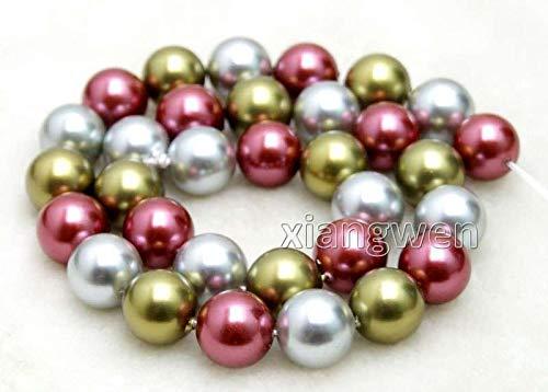 FidgetFidget Sale Round 12mm Multicolor(Purple/Green/Gray) Shell Pearl Strands 15