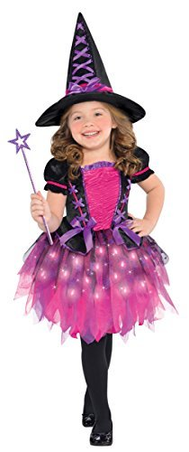 Amscan 844308 Girls Light-Up Sparkle Witch Costume, Toddler (3-4), Black/Pink -