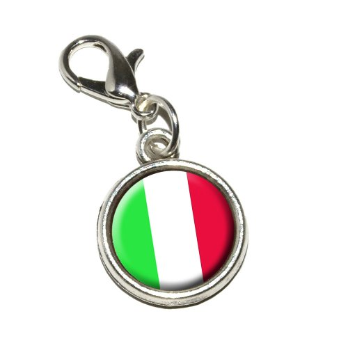 Graphics and More Italy Italian Flag Antiqued Bracelet Pendant Zipper Pull Charm with Lobster Clasp