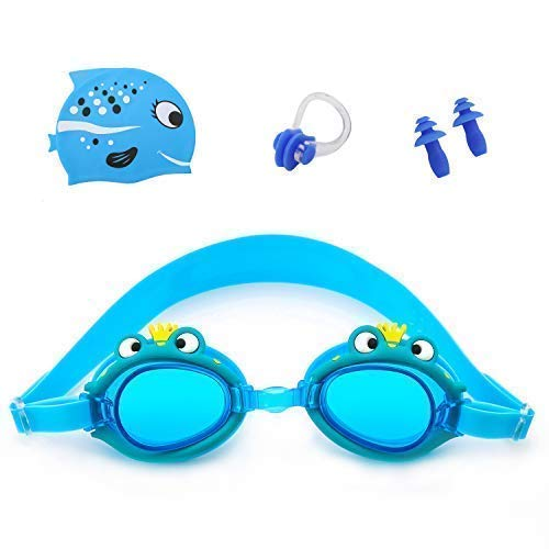 (Kids Swim Goggles Age 3-9 Cartoon toddler goggles Anti-Fog Waterproof UV Protection No Leak Soft Silicone Frame And Strap Swimming Goggles Boys Girls Early Teens with Swim Cap and Earplug Frog Green)