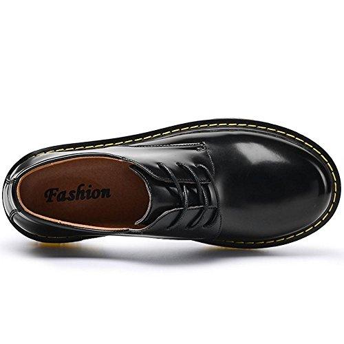 Taoffen Herenschoenen Comfort Flat Low Top Footwear Lace Up Black