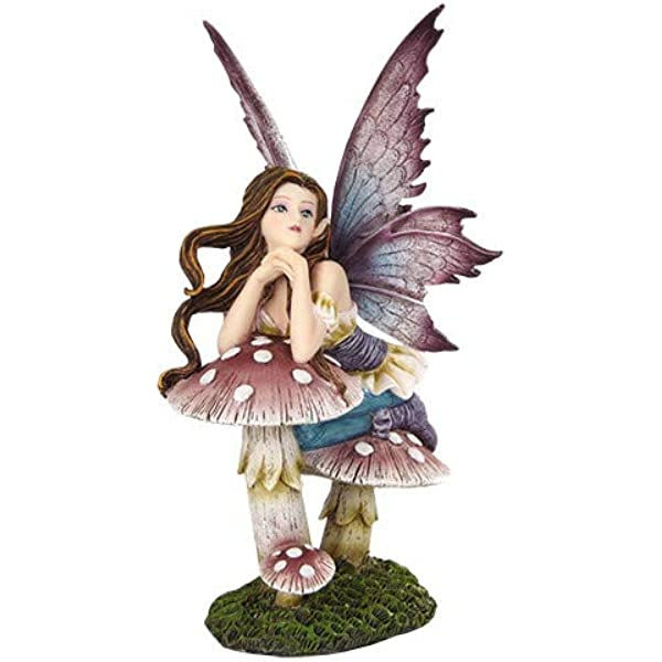 Pacific Giftware 5 25 Inch Fairyland Pink Fairy Leaning On Mushroom Statue Figurine Home Kitchen Amazon Com