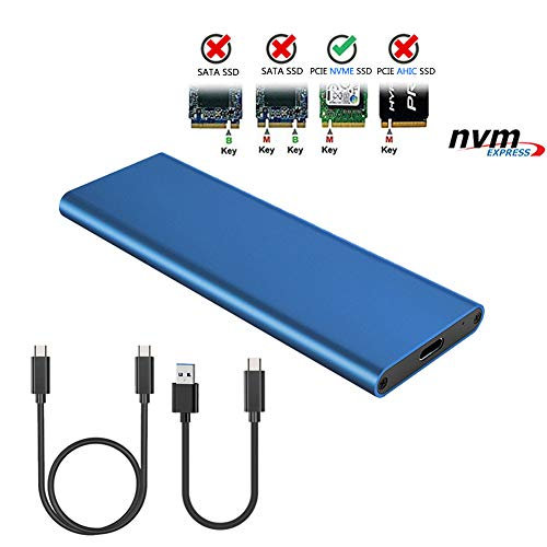 (NVME PCI-E Enclosure M.2 NVME to USB3.1 Type-C GEN2 10GBPS Enclosure M.2 PCI-E SSD Hard Disk External Box M.2 M-Key SSD to USB-C Adapter Fit for Samsung 970 EVO/PRO/WD Black NVME with Two Cable (Blue))