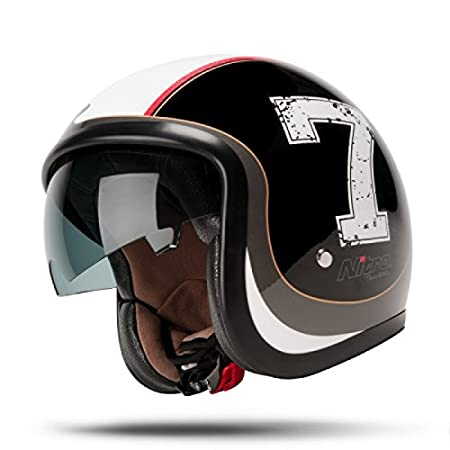Amazon.es: Nitro x581 Jet Casco abierto moto scooter - Negro ...