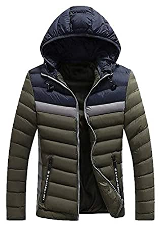 FSSE Mens Color Block Thicken Hooded Winter Down Quilted