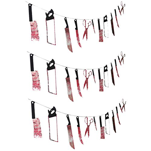 BESPORTBLE 3PCS 2.2Meters Halloween Bloody Props Blood Knife and Scissors Hanging Banners Decoration Party Supplies -