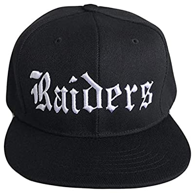 Raiders Old English Flat Bill Snapback Flat Bill Oakland Cap (One Size, Black/White)