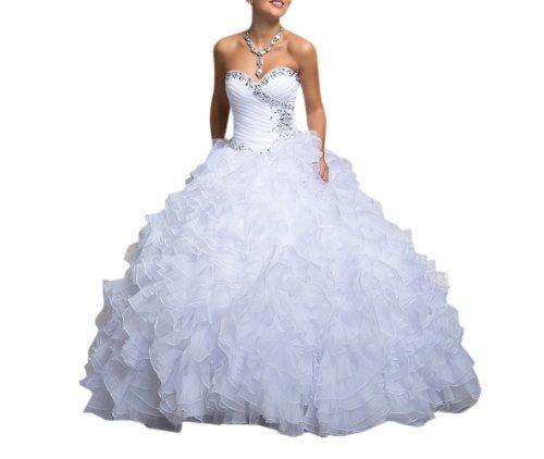 Dearta Women's Ball Gown Sweetheart Floor-Length Dresses US 10 White (Fancy Dress Free Delivery)