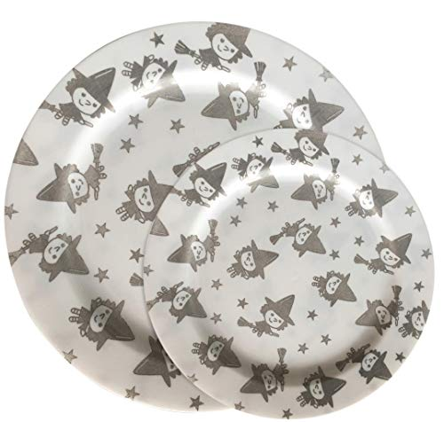 Party Joy 50-Piece Plastic Dinnerware Set | Halloween Plates | Happy Witches Collection | (25) 10.25
