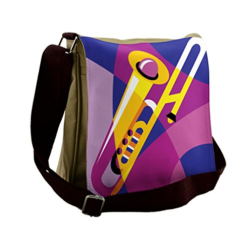 Lunarable Trombone Messenger Bag, Pop Art Groovy Jazz Music, Unisex ()