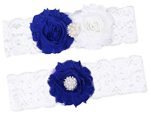 Lovful Women Garters for Bride Wedding Garter Set with Rhinestones Lace Bridal Accessory,Blue Flower -