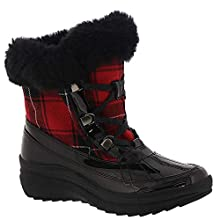 Anne Klein Womens Gayla Round Toe Mid-Calf Cold, Black-red-Plaid, Size 7.5