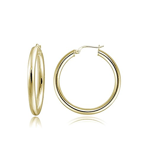 Hoops & Loops Flash Plated Gold Sterling Silver 3mm Polished Round Hoop Earrings, 25mm (Round Mm 25 Hoop)