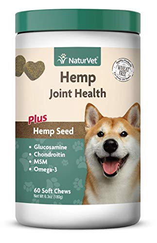 NaturVet - Hemp Joint Health for Dogs - Plus Hemp Seed - Supports Overall Joint Health - Enhanced with Glucosamine, MSM, Chondroitin & Antioxidants - 60 Soft Chews