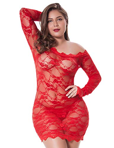 gular and Plus Size Chemise Floral Lace Off Shoulder See Through Bodysuit Sexy Lingerie, Red, 3XL-4XL ()