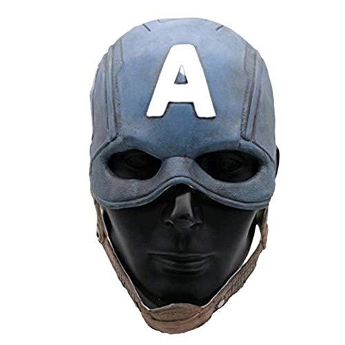 Captain Steve Rogers Latex America Endgame Replica Mask Costume Chris Evans Civil War Winter Soldier Helmet W/Patch Shield (Mask Only)
