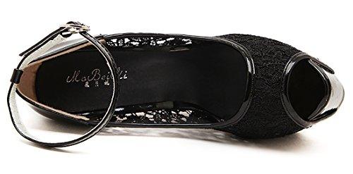 Boucle Aiguille 16 cm Creux Cheville et à Femmes Bride de Dentelle Talons Noir Escarpins UH Hauts avec de ZHvBSqUx