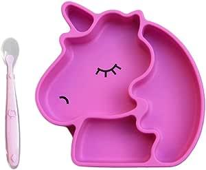 Plato de Silicón para Bebé y Cuchara de Silicón Grado Alimenticio, Forma de Unicornio, Libre de BPA, Con Divisiones y Ventosa Para Evitar Derrames, Divertida Nutrición Para Bebes y Niños Pequeños, Seguro, Resistente y Fácil de lavar