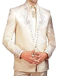 INMONARCH Hombres Marfil Smoking traje de vestir de boda 5 PC TX164