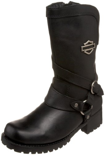 Harley-Davidson Women's Amber Water Resistant Motorcycle Boot ,Black,8 M US (Harley Riding Boots Womens)