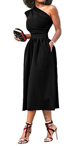 Line Midi Shoulder One Evening Formal Angerella Elegant Sleeveless Dresses Dress A Black 7qHn8wAf