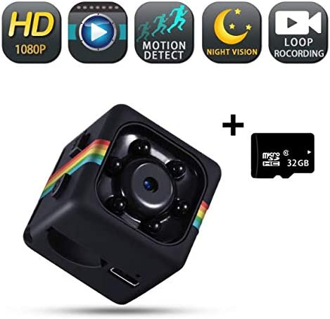 Spy Camera Wireless Hidden Camera with Audio, Mini Hidden Spy Camera with 1080P HD Video, Security Cameras with Motion Detection, Night Vision, Built-in Battery, 32G SD Card is Included