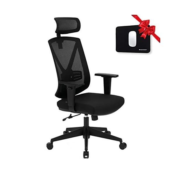 Comfort Chaise de bureau ergonomique avec grand dossier respirant et repose-tête réglable, chaise de bureau inclinable…