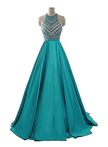 HEIMO Women's Sequins Evening Party Gowns Beading Formal Prom Dresses Long H187 14 Turquoise