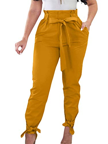 GOBLES Women Solid Casual Work Trousers High Waist Ruffle Bow Tie Pants Ginger (Ginger Tie)