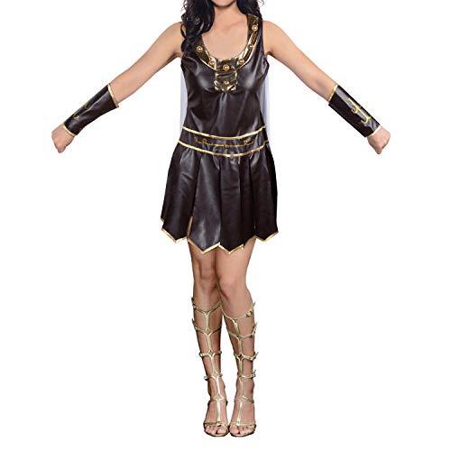 Women's Spartan Warrior King Gladiator Roman Brave Adult Sexy Halloween Costume Cape (White Cape, L)]()