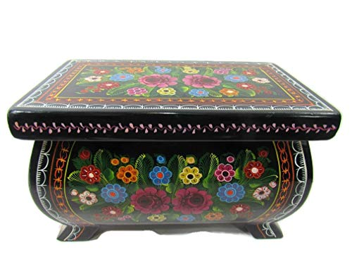 The Reliquary of Treasures Olinala Hand Lacquered & Painted Carved Incised Large Rectangular Footed Lacquerware Wooden Jewelry Trinket Stash Box Crafted in Guerrero, Mexico (Pink Garden)