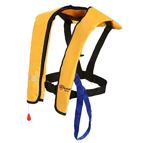 Top Safety Adult Life Jacket with Whistle - Auto Version Inflatable Lifejacket Life Vest Preserver PFD for Boating Fishing Sailing Kayaking Surfing Paddling Swimming - Adjustable Life Saving Vest