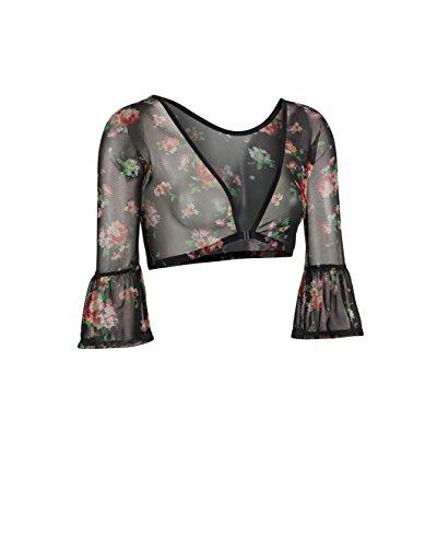 - Sleevey Wonders Women's Bell 3/4 Length Slip-on Floral Mesh Sleeves XL Black
