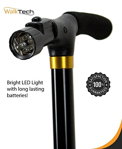 Walking Cane - Folding Feature To Take Anywhere - Built-In Flashlight For Night Time