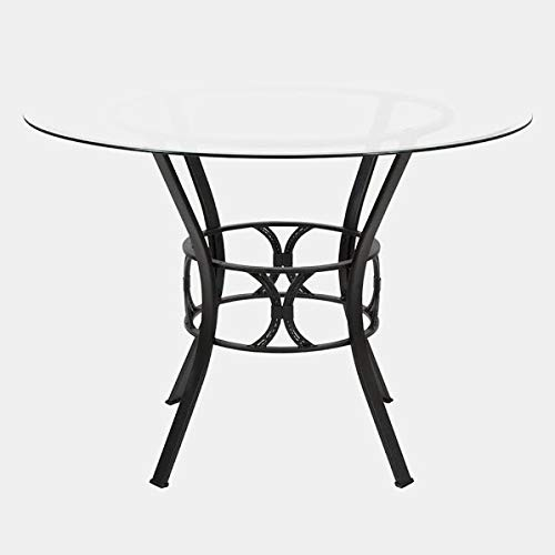 Openwork Metal Base Dining Table - Circular Dining Table with Glass Top - Black 42' Square Glass Top