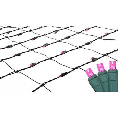4 x 6 Raspberry LED Wide Angle Christmas Net Lights - Green Wire