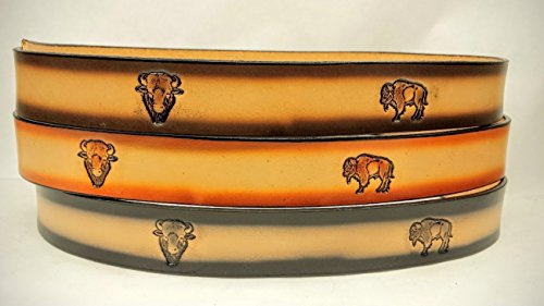 Leather Belts Embossed Bison Design 1 1/2
