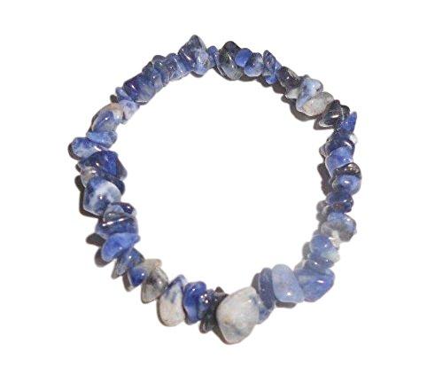 1pc Natural Healing Crystal Sodalite Chip Gemstone 7 Inch Stretch Bracelet