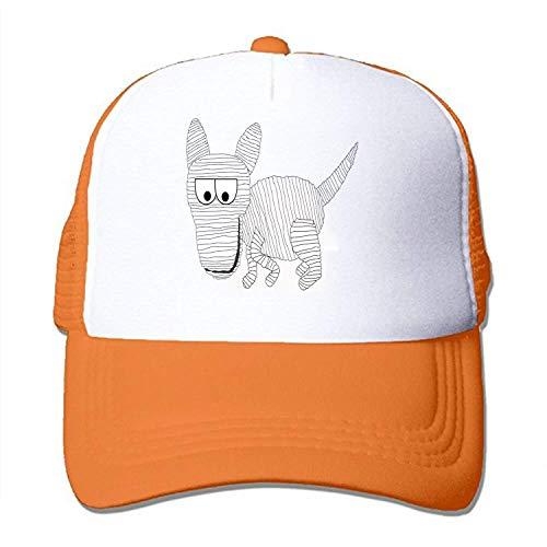 Orange Hounds (CAOBOO Adult Unisex Mummy Dog Hound Happy 100% Nylon Mesh Caps Mesh Caps Adjustable Orange)
