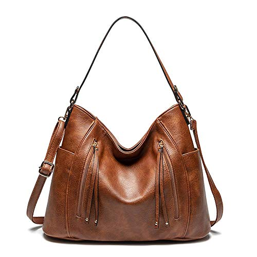 Women Large Hobo Bags Designer Handbags with Tassel Faux Leather Vintage Shoulder Purse - Brown