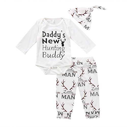 Baby Boy Girl Suit For Baby Shower Deer Print Long Sleeve Romper+Long Pants+Hat (0-3months, White&Daddy's New -