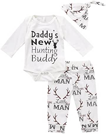 Baby Boy Girl Suit For Baby Shower Deer Print Long Sleeve Romper+Long Pants+Hat