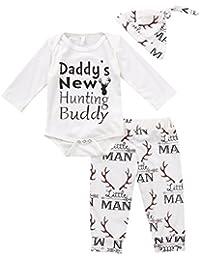 Baby Boy Girl Suit para Baby Shower Deer impresión de manga larga Romper + pantalones largos + sombrero
