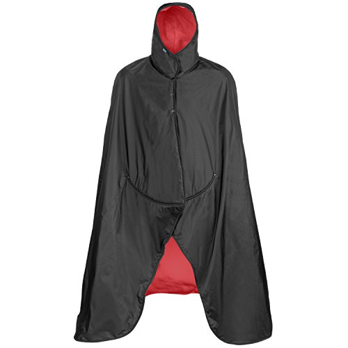 Mambe Extreme Weather 100% Waterproof/Windproof Hooded Blanket with Premium Stuff Sack (Size: Large, Red)