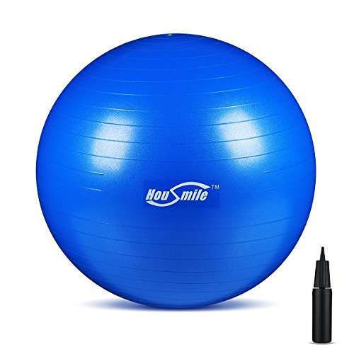 Housmile Exercise Stability Yoga Ball, Perfect Ball Chair For Home or Office (Blue 65cm)