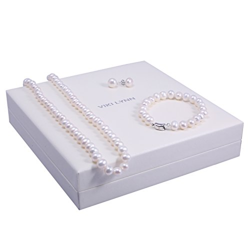 Freshwater Cultured Pearl Necklace Set Includes Stunning Bracelet and Stud Earrings Jewelry for Women - VIKI LYNN 5
